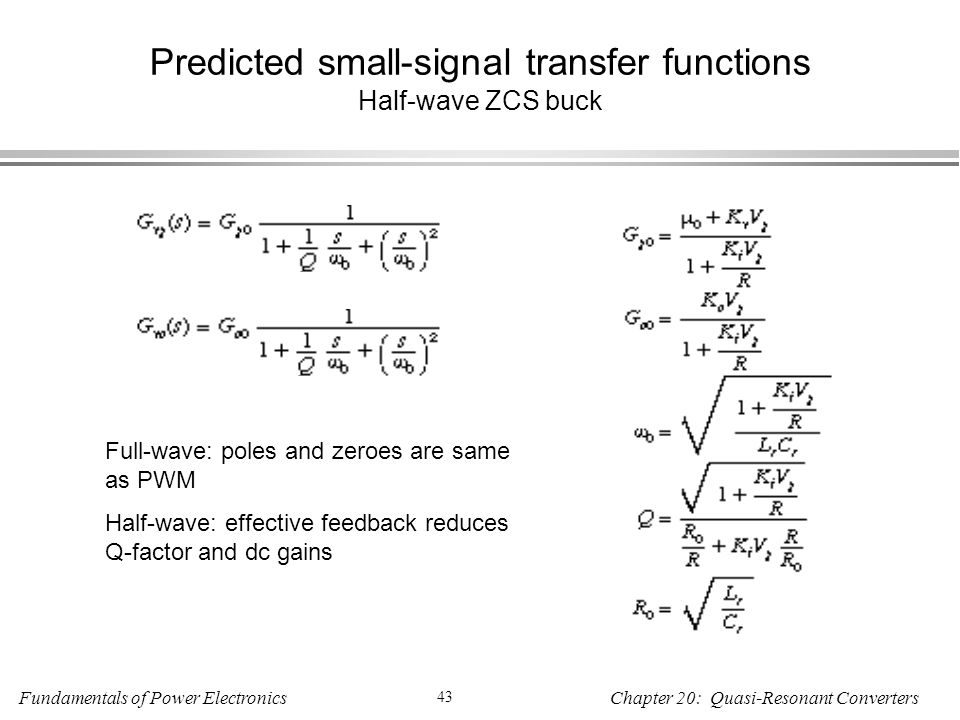 Predicted small-signal transfer functions Half-wave ZCS buck