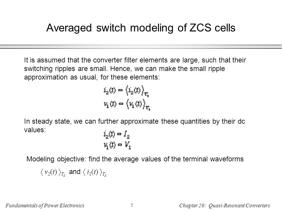 Averaged switch modeling of ZCS cells