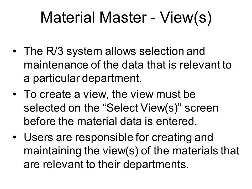 Material Master - View(s)