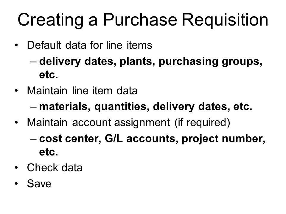 Creating a Purchase Requisition