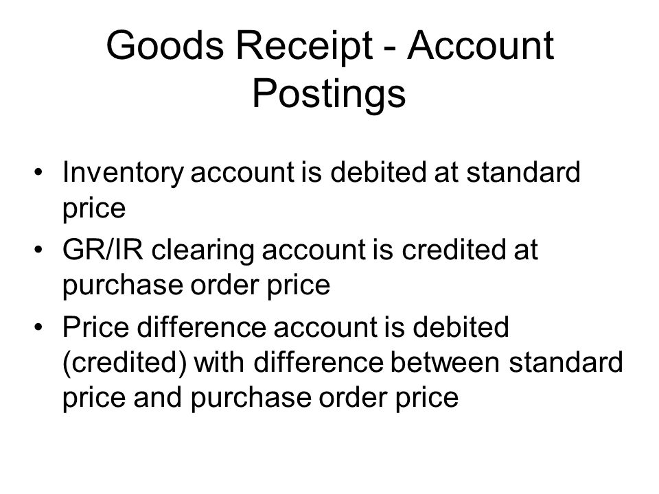 Goods Receipt - Account Postings