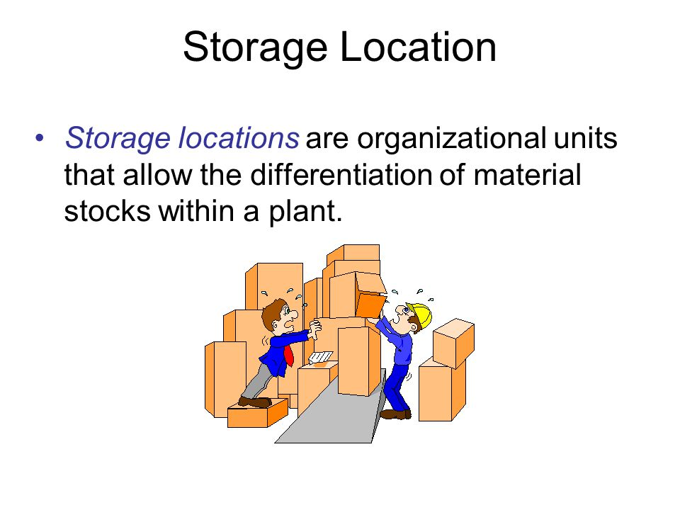 Storage Location Storage locations are organizational units that allow the differentiation of material stocks within a plant.