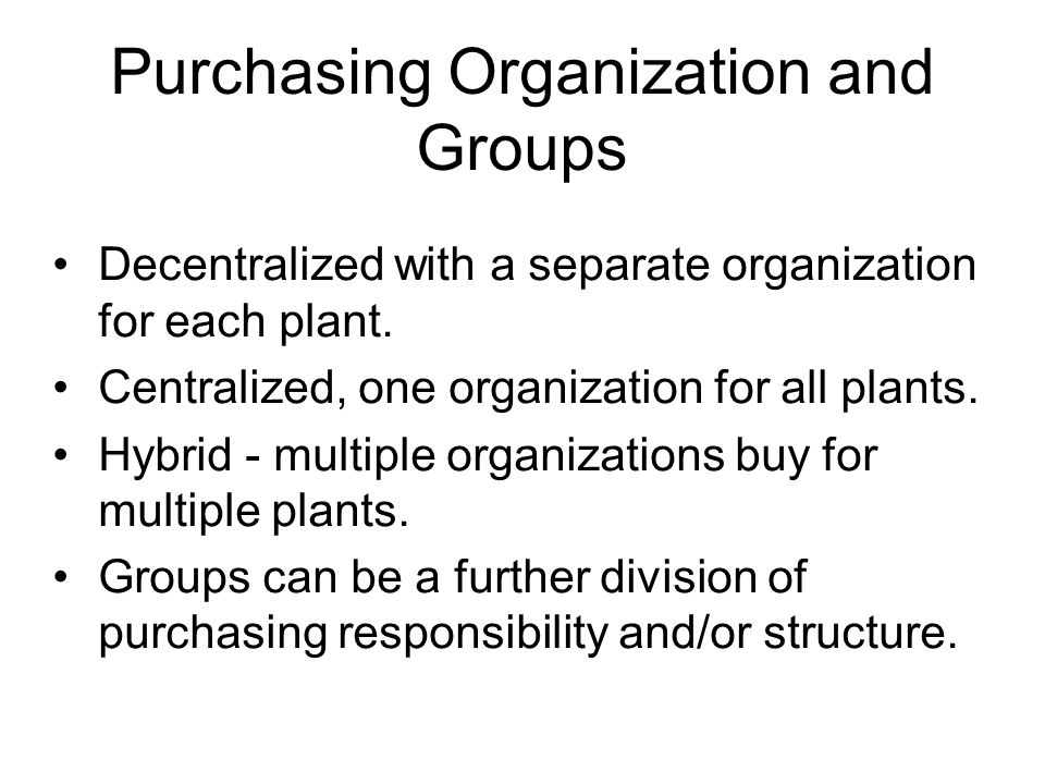 Purchasing Organization and Groups