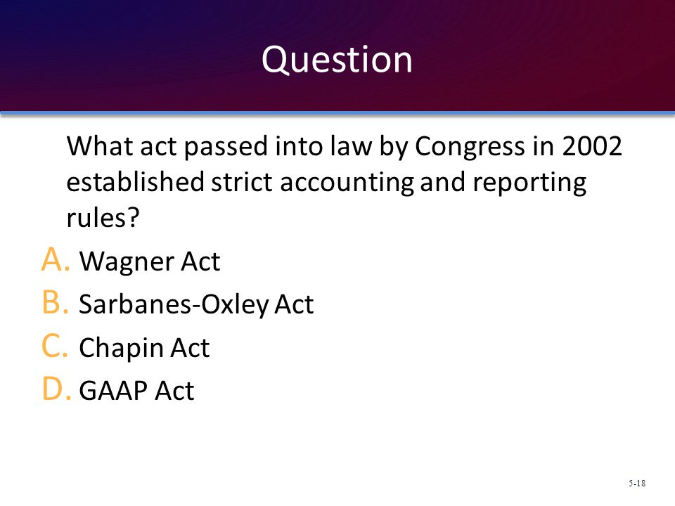 Question What act passed into law by Congress in 2002 established strict accounting and reporting rules