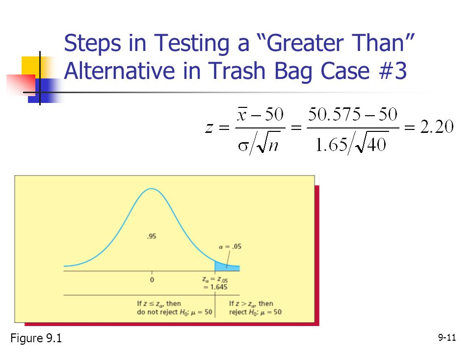 Steps in Testing a Greater Than Alternative in Trash Bag Case #3