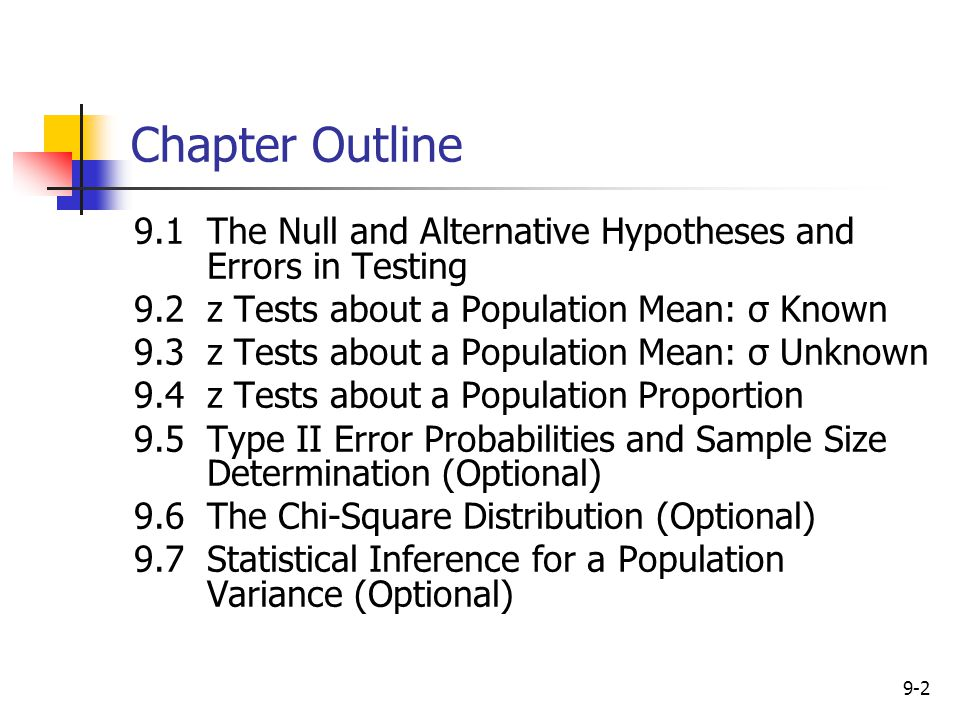 Chapter Outline 9.1 The Null and Alternative Hypotheses and Errors in Testing. 9.2 z Tests about a Population Mean: σ Known.