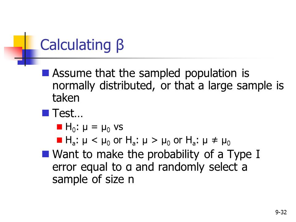 Calculating β Assume that the sampled population is normally distributed, or that a large sample is taken.