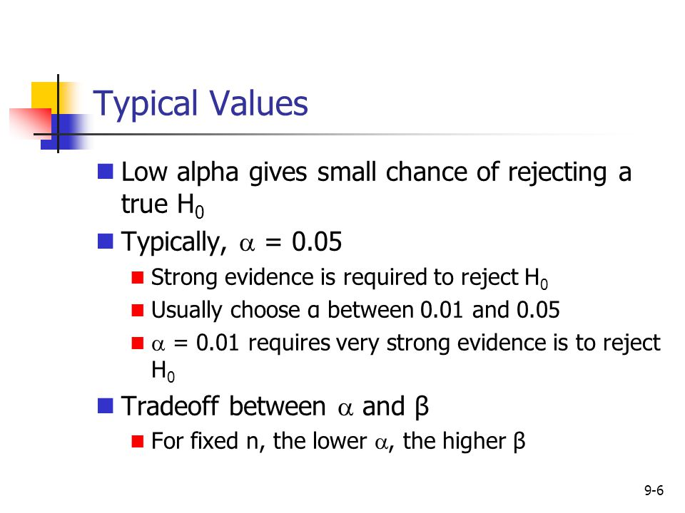 Typical Values Low alpha gives small chance of rejecting a true H0
