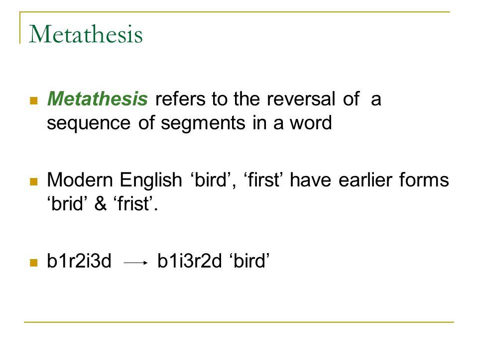 english metathesis Metathesis - translation to spanish, pronunciation, and forum discussions.