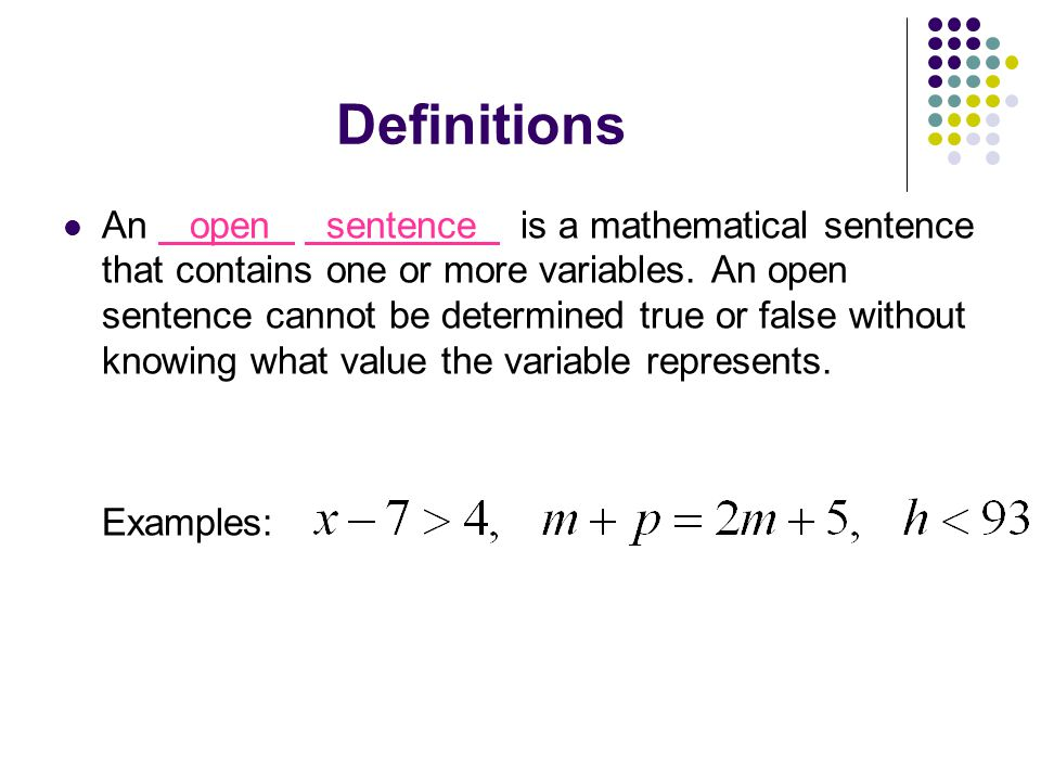 What is the definition of sentence math complement example image.
