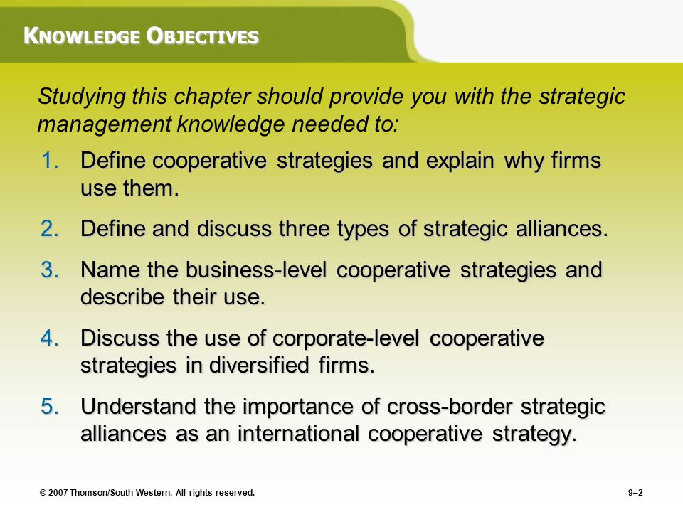 types of strategic alliances and why use them management essay Strategic alliances come in so many different types and optionsthe possibilites for entrepreneurs are almost endless strategic alliances can offer resouces, advice, skills, and customers.