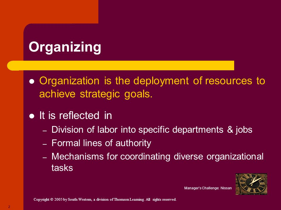 Organizing Organization is the deployment of resources to achieve strategic goals. It is reflected in.