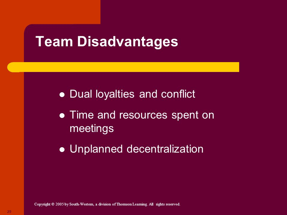 Team Disadvantages Dual loyalties and conflict