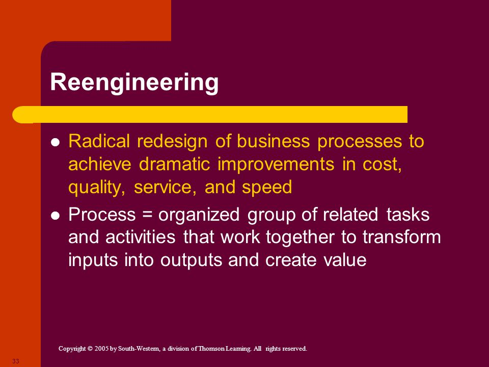 Reengineering Radical redesign of business processes to achieve dramatic improvements in cost, quality, service, and speed.
