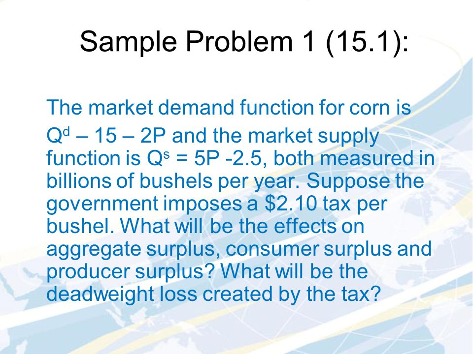 Sample Problem 1 (15.1): The market demand function for corn is