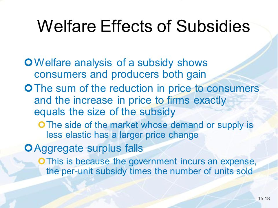 Welfare Effects of Subsidies