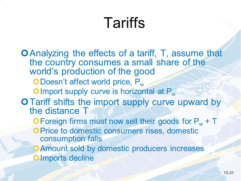 Tariffs Analyzing the effects of a tariff, T, assume that the country consumes a small share of the world's production of the good.