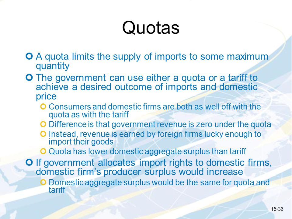 Quotas A quota limits the supply of imports to some maximum quantity