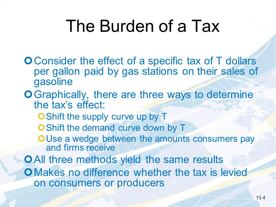 The Burden of a Tax Consider the effect of a specific tax of T dollars per gallon paid by gas stations on their sales of gasoline.