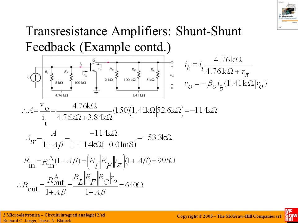 Transresistance Amplifiers: Shunt-Shunt Feedback (Example contd.)
