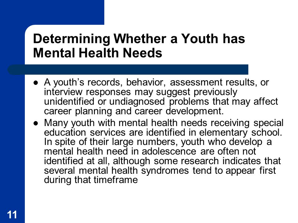 Determining Whether a Youth has Mental Health Needs