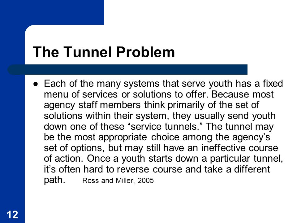 The Tunnel Problem