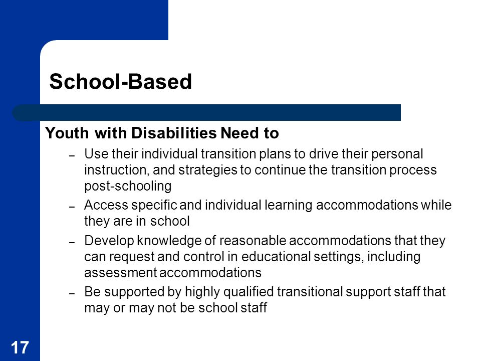School-Based Youth with Disabilities Need to