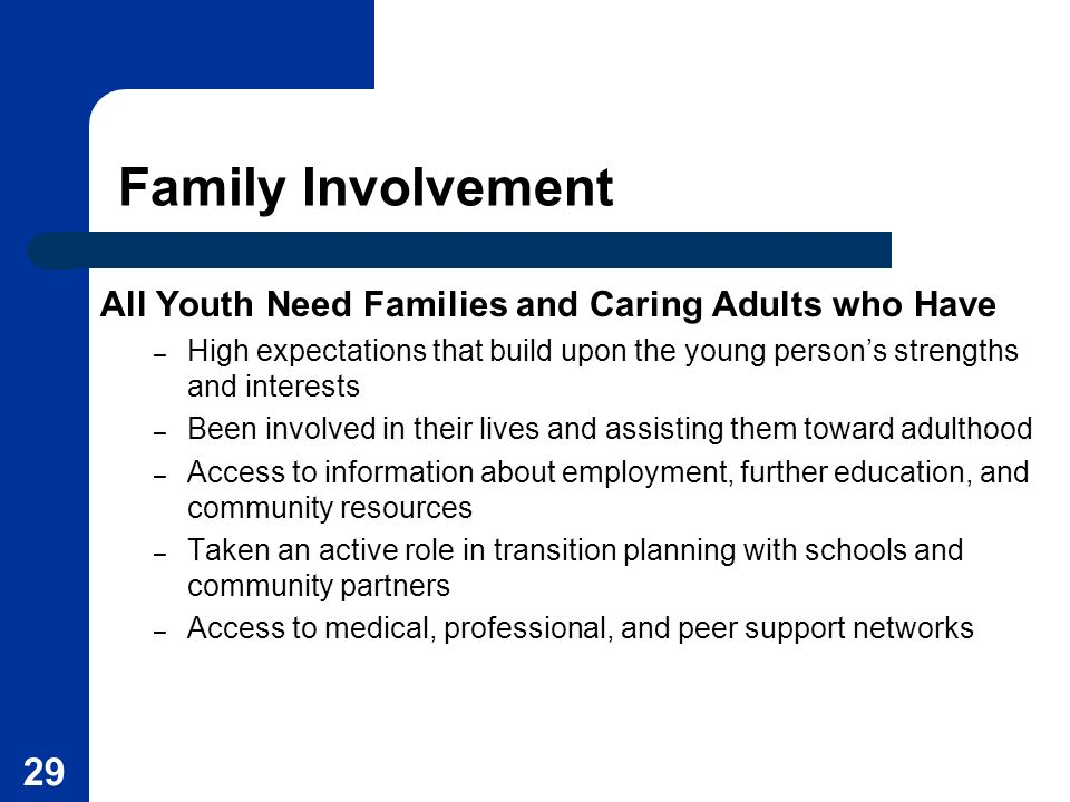 Family Involvement All Youth Need Families and Caring Adults who Have