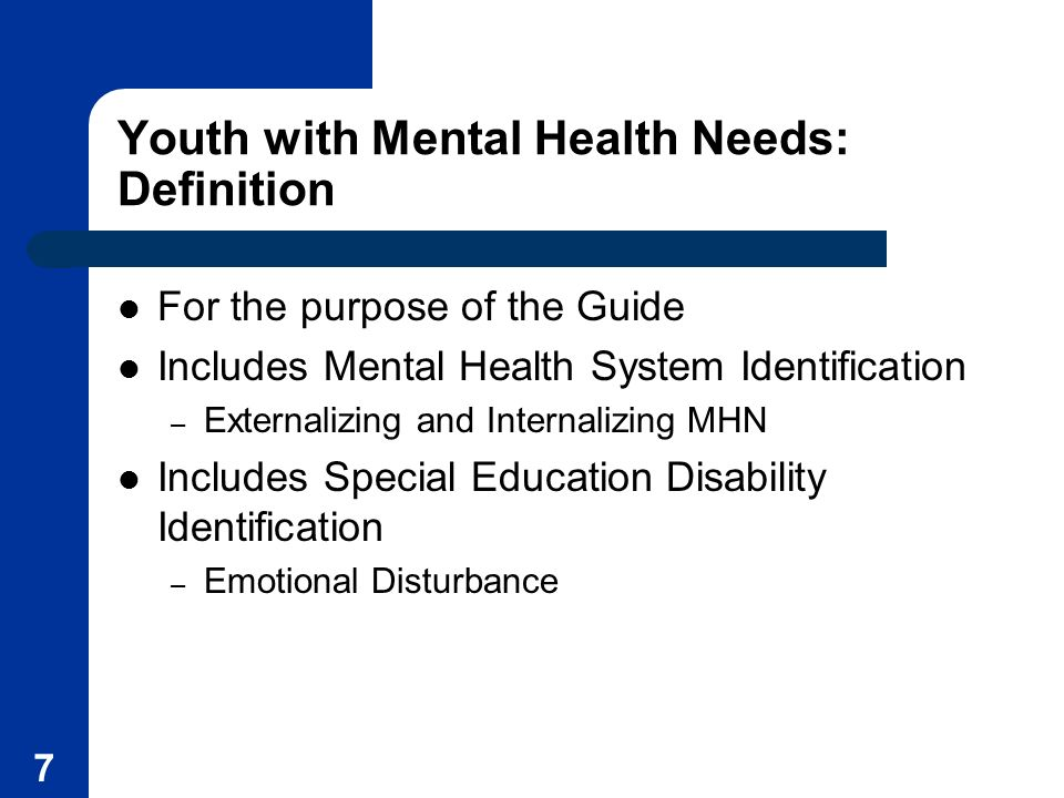 Youth with Mental Health Needs: Definition