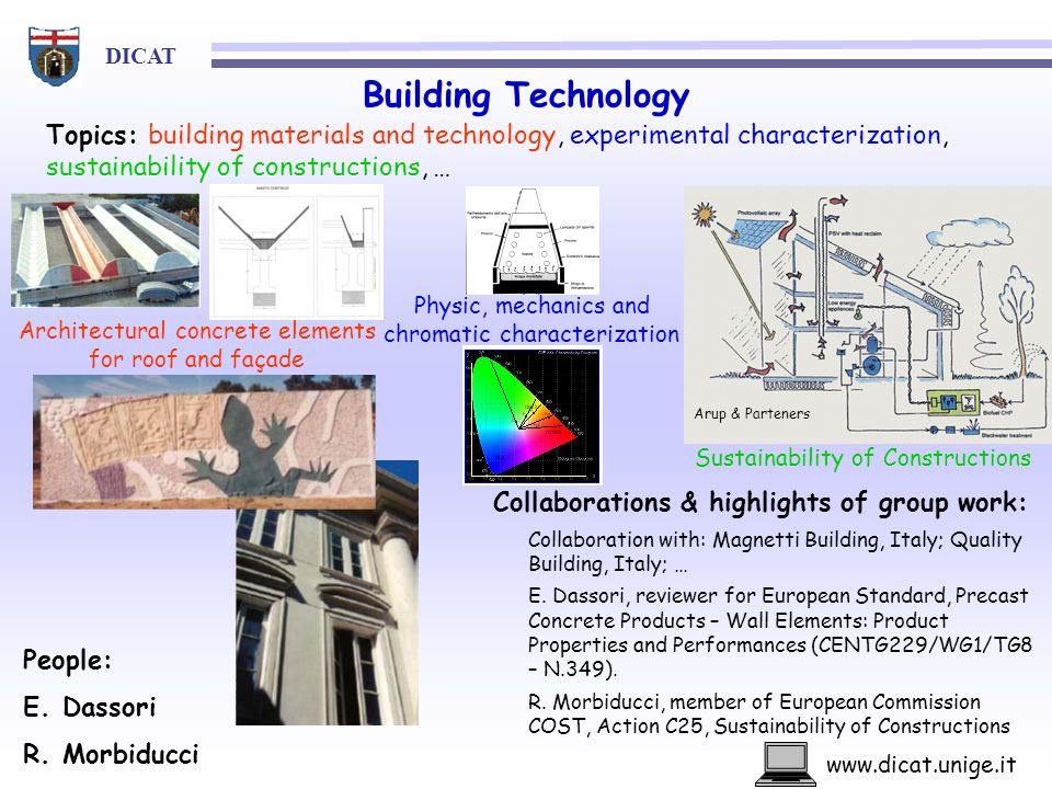 Building Technology Topics: building materials and technology, experimental characterization, sustainability of constructions, …