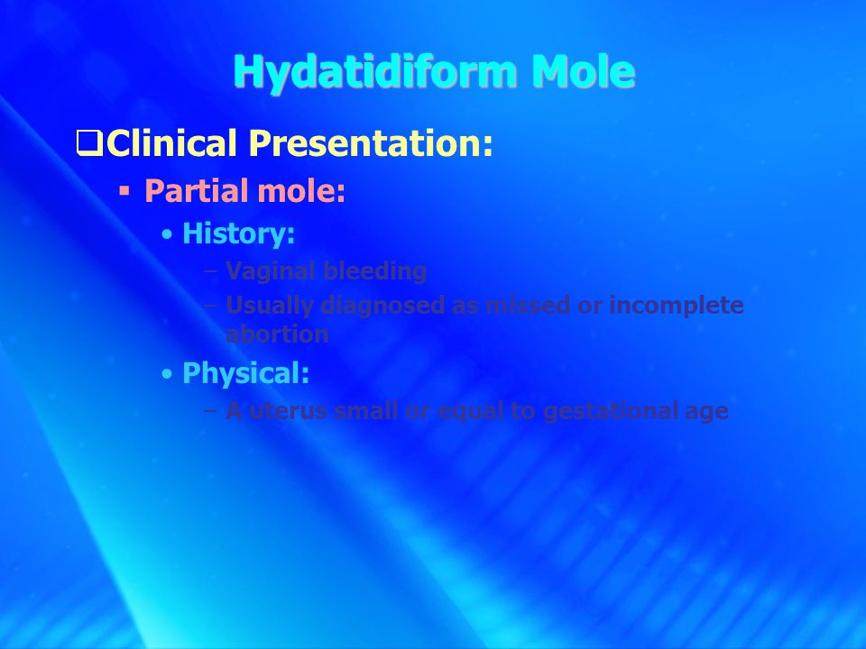 Pathophysiology of vaginal bleeding of h-mole