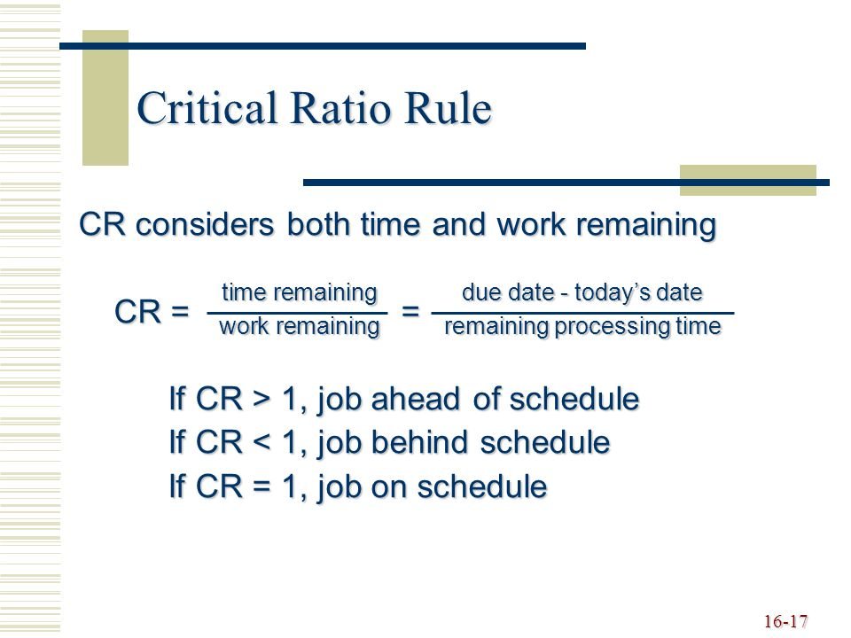 Critical Ratio Rule CR considers both time and work remaining CR = =