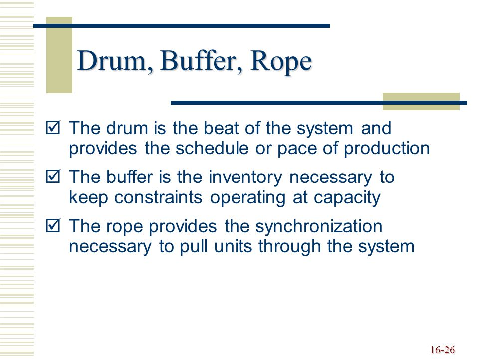Drum, Buffer, Rope The drum is the beat of the system and provides the schedule or pace of production.