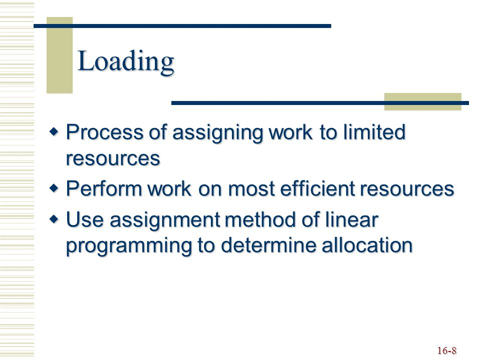 Loading Process of assigning work to limited resources