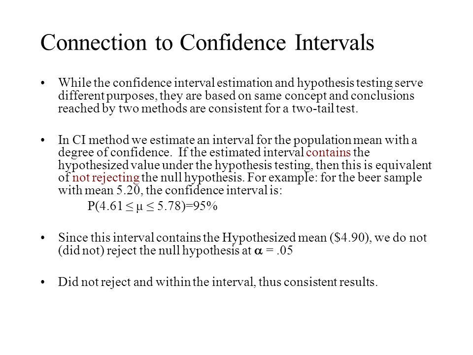 Connection to Confidence Intervals