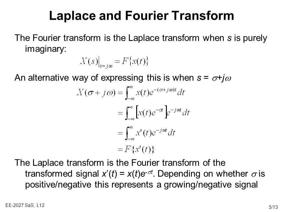 Laplace and Fourier Transform