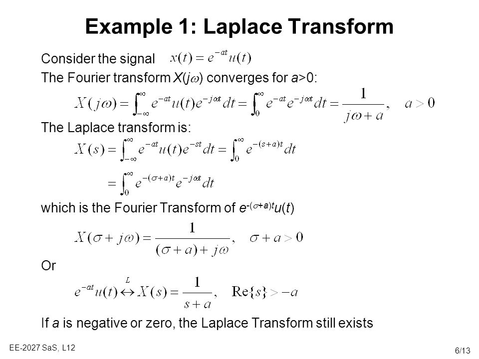Example 1: Laplace Transform