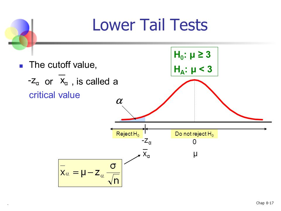 Lower Tail Tests a H0: μ ≥ 3 HA: μ < 3 The cutoff value,