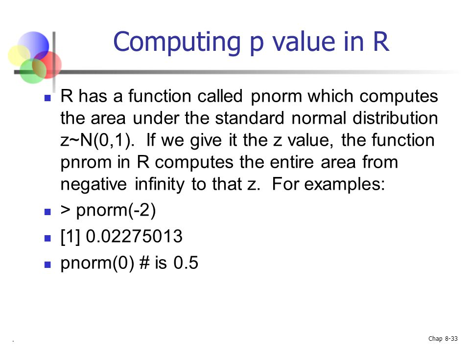 Computing p value in R
