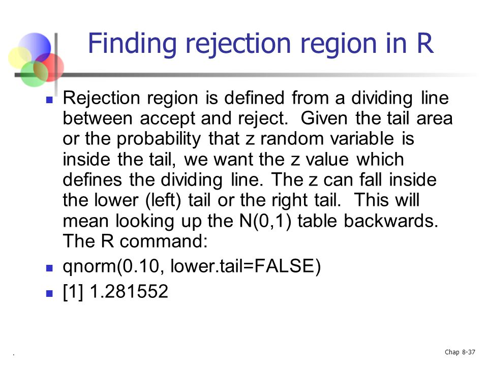 Finding rejection region in R