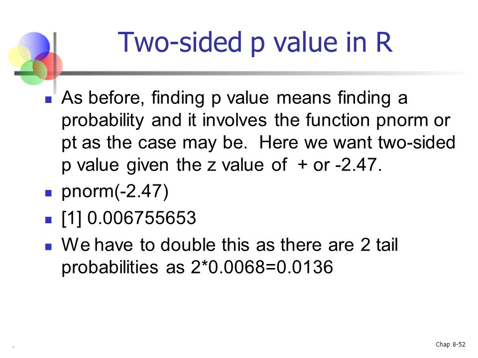 Two-sided p value in R