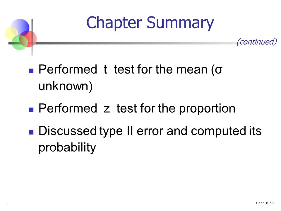 Chapter Summary Performed t test for the mean (σ unknown)