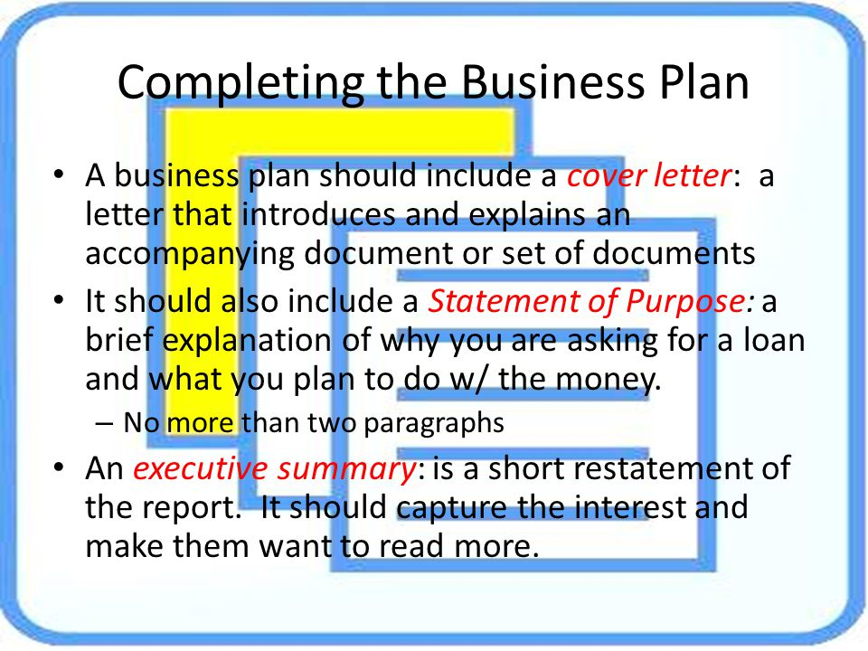 Completing the Business Plan