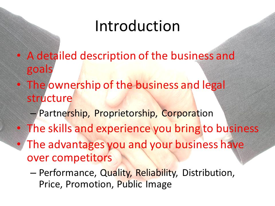 Introduction A detailed description of the business and goals