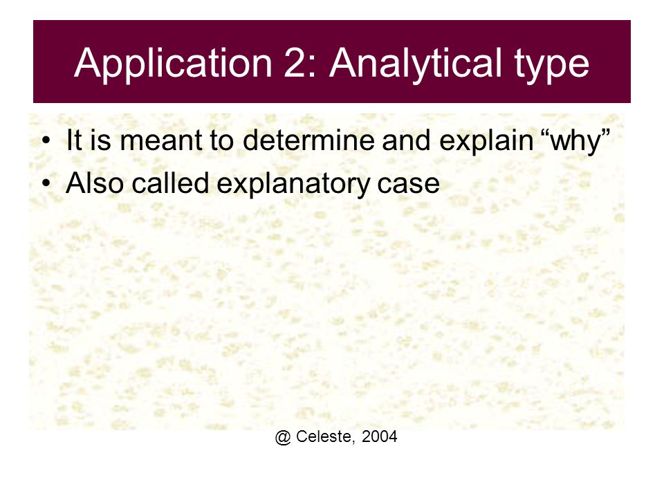 Application 2: Analytical type