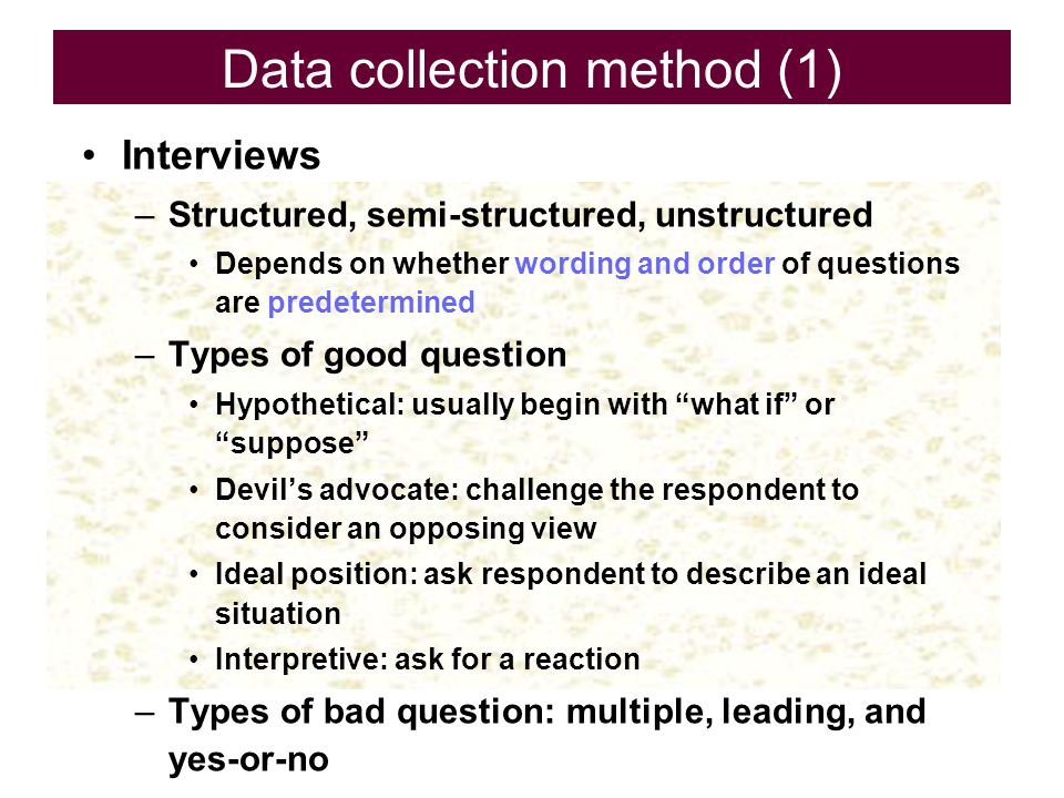 Data collection method (1)