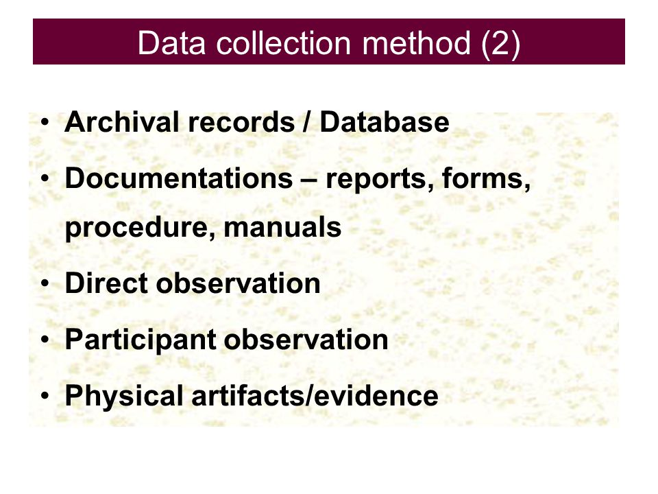 Data collection method (2)