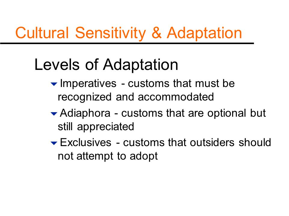 Cultural Sensitivity & Adaptation