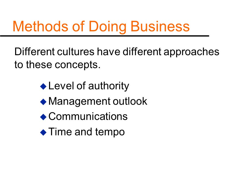Methods of Doing Business