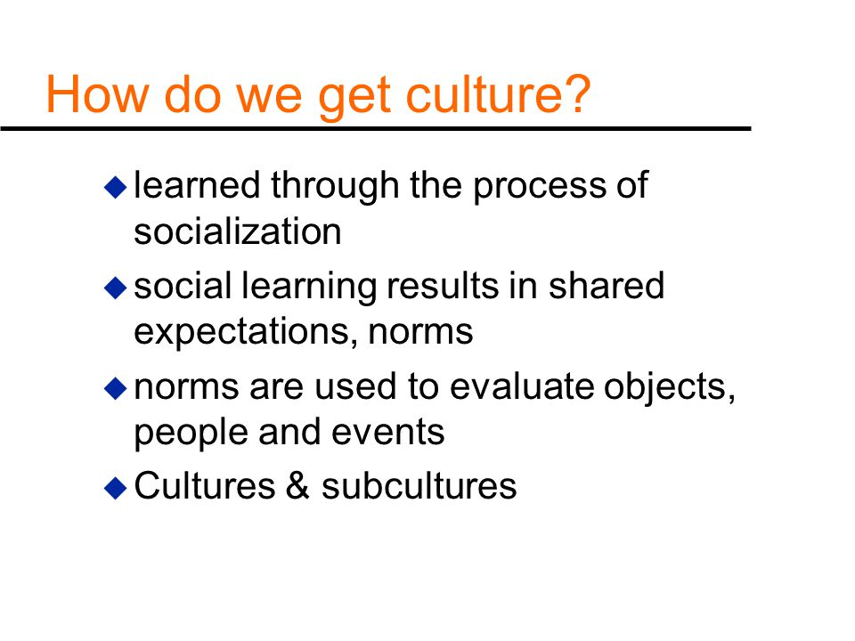 How do we get culture learned through the process of socialization